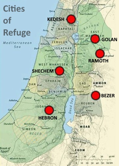 Cities of refuge location in Israel
